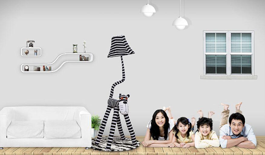 125 cm kumaş karikatür lamba, yaratıcı yatak odası oturma odası çocuk odası başucu pastoral kedi tipi zemin lambası, masa lambası modern moda