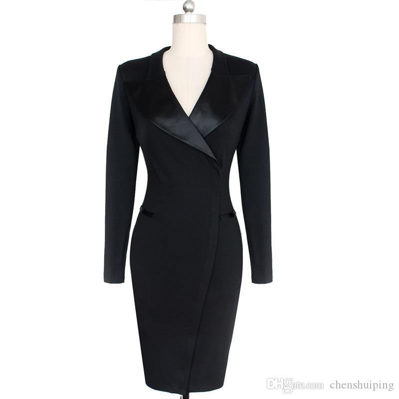 2016 Barato Para Mujer Vintage Pinup Retro Rockabilly Gran Solapa Cuello Trabajo Causal Lápiz Bodycon Wiggle Vestido de envío gratis