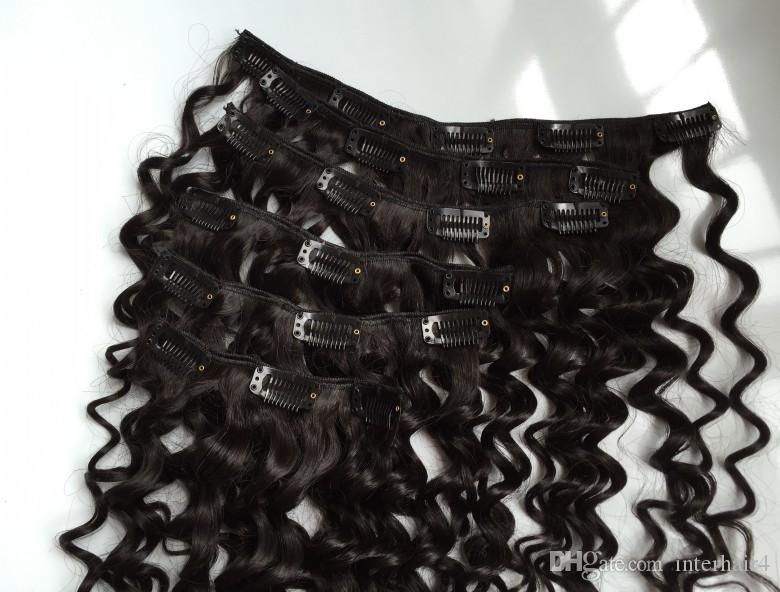 """Best Quality 120g 8""""- 24"""" clip in hair extensions Indian Remy human hair natural black deep wave clip-in Hair"""