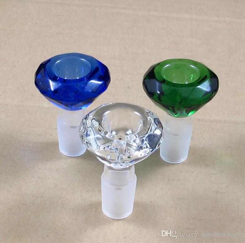 Forma de cristal de diamante grosso tigela de vidro atacado Multicolor alta qualidade cinzas coletor de cachimbo de água de fumar bong frete grátis
