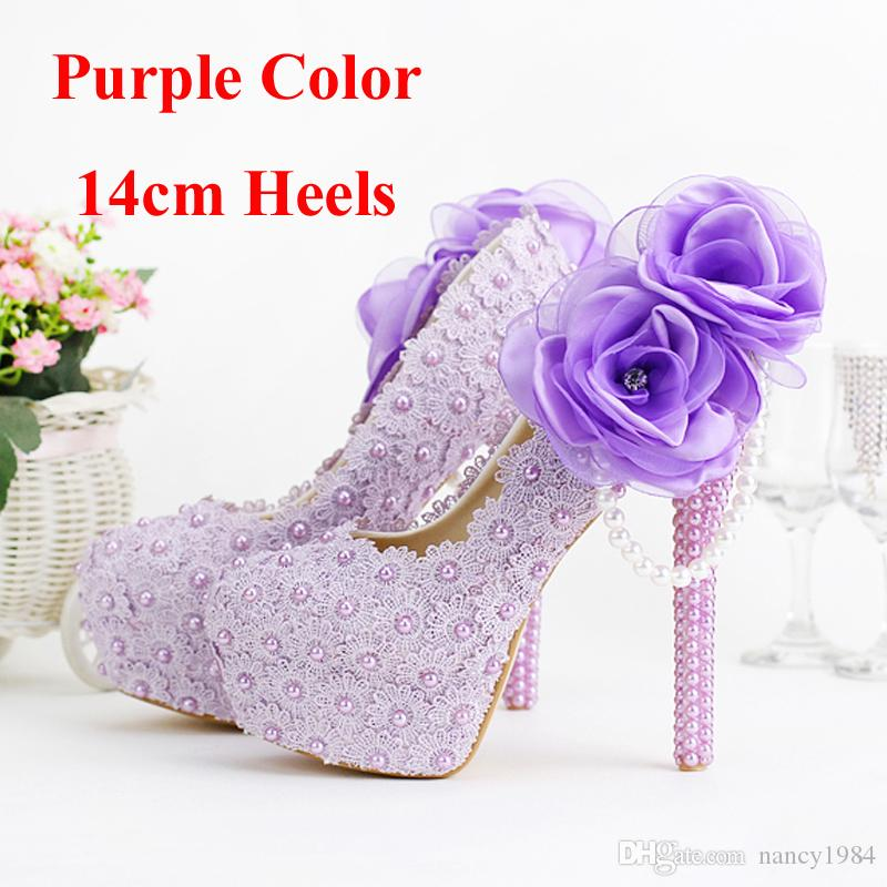 2019 Romantic Purple Super High Heel Wedding Shoes Beautiful Lace Handmade Bridal Dress Shoes with Appliques Bridesmaid Shoes