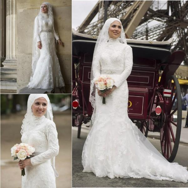 Elegant Muslim Hijab Lace Mermaid Wedding Bridal Gowns High Neck ...