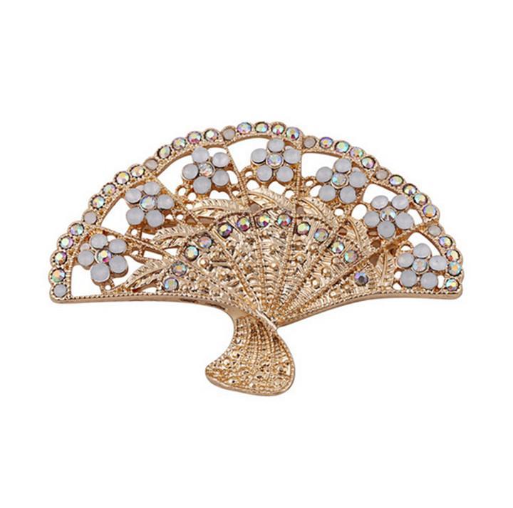 venta al por mayor elegante forma de abanico broches partido del oro plateado broche brillante rhinestone studded novia de la boda fine jewelry k desde