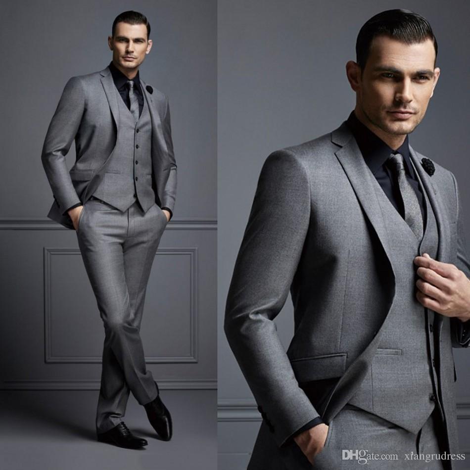 2018 nueva moda guapo gris oscuro traje para hombre traje de novio trajes de boda para los mejores hombres Slim Fit Groom Tuxedos para hombre chaqueta + chaleco + pantalones