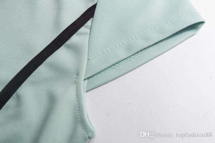여자를위한 핫 여름 스트리트 스타일 연필 드레스 패션 포켓 패치 워크 대비 컬러 슬림 짧은 소매 OL Bodycon 파티 드레스