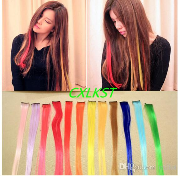 Online Cheap Clip In On Colorful Hair Piece Synthetic Straight Hair