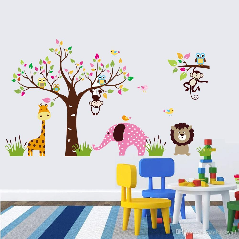 Animali di grandi dimensioni Paradise Wall Art Mural Poster Decor Parco bambini Scuola materna Decorazione murale Adesivo Adesivo Decorazioni bambini