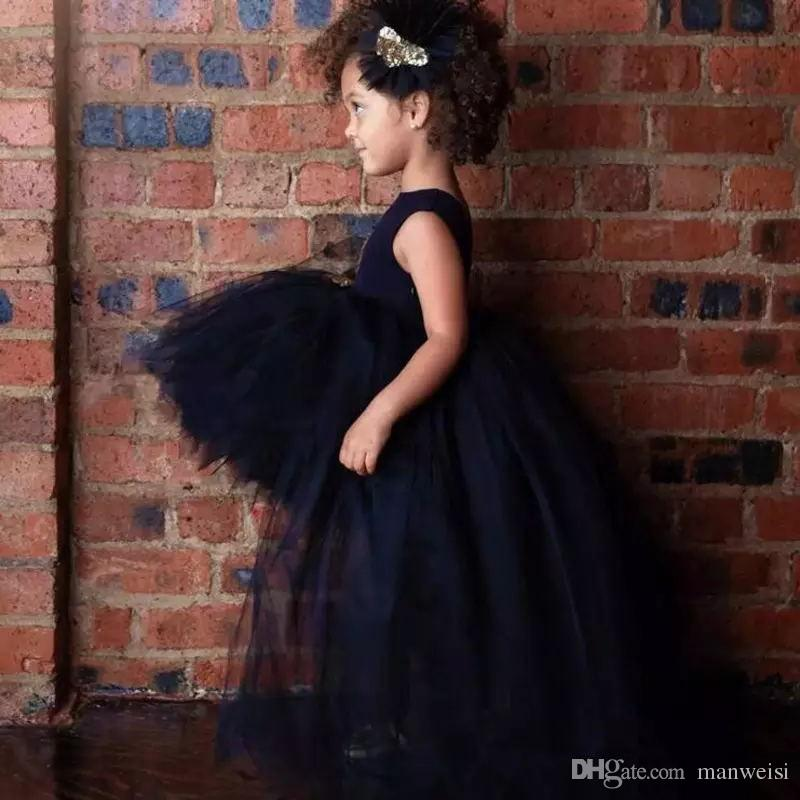 Маленький Черный Высокий Низкий Цветок Девушка Платья Для Свадьбы Jewel Шеи Блестки Детские Дети Вечерние Платья Дешевые Длинные Причастие Платье