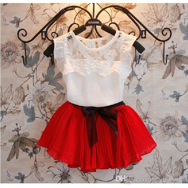 Sommer Mädchen Kleidung Set Korean Chiffon Weste Shirt + Kurzer Rock 2 stücke Kinder Anzug 3 Farbe Auf Lager 100-140 Fit 3-8Age Chidlren Sets WD415