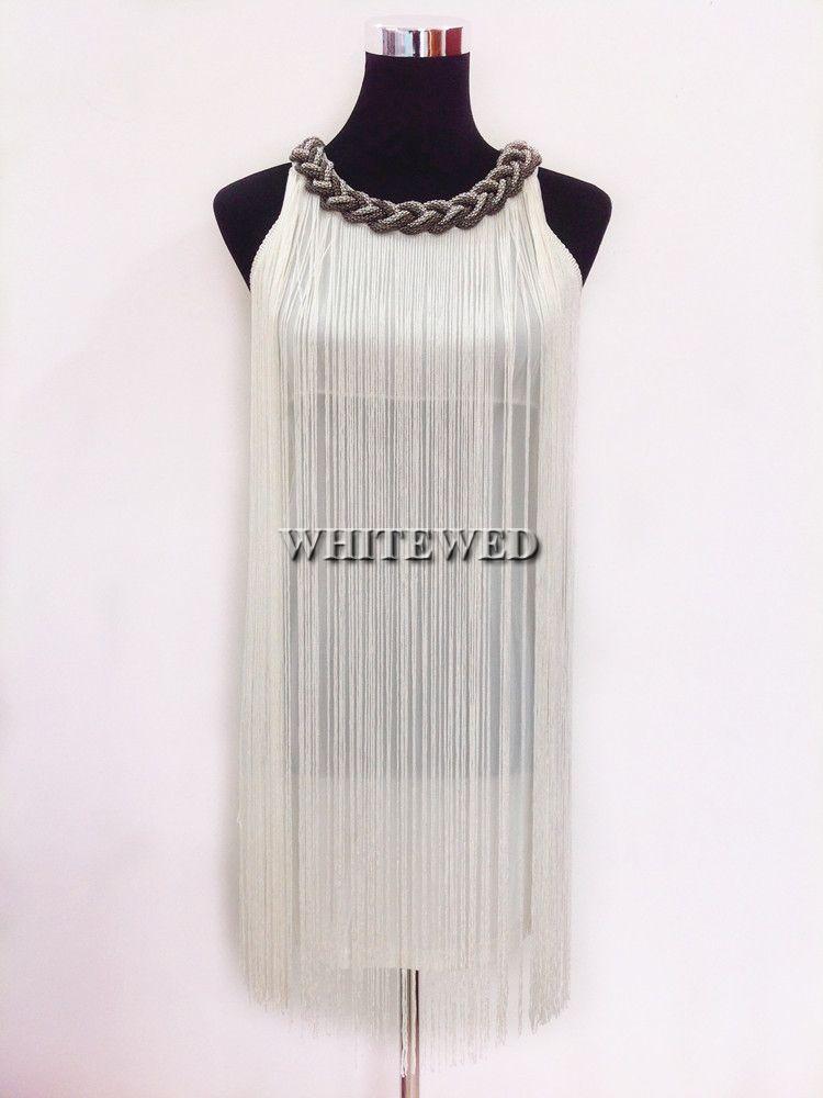 wholesale chain mini short tassel fringe charleston latin salsa ballroom traditional dresses dance wear costumes white online shopping