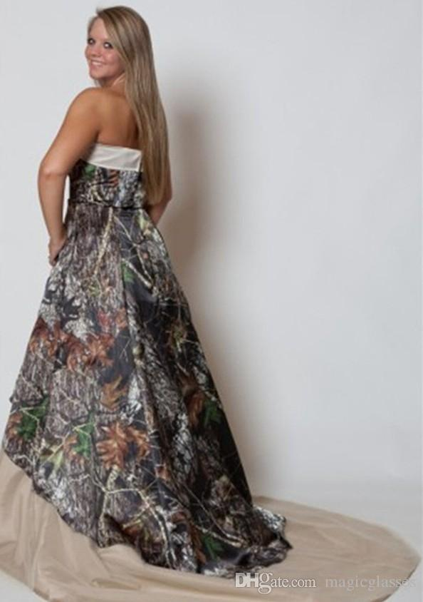 Abiti da sposa Vintage Plus Size Abiti da sposa senza spalline Camo Forest Abiti da sposa eleganti di nuova moda Sweep Train Camo Print