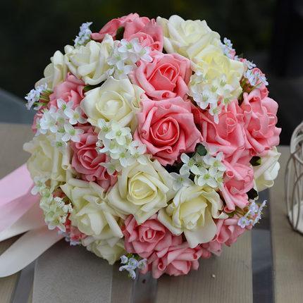 Nowe ślubne bukiety ślubne PE Wstążki Sztuczne Róże 30 Sztuk / Set Ślubne Bukiety Bukiety Party Kwiaty Ball Boże Narodzenie Dekoracje stołowe