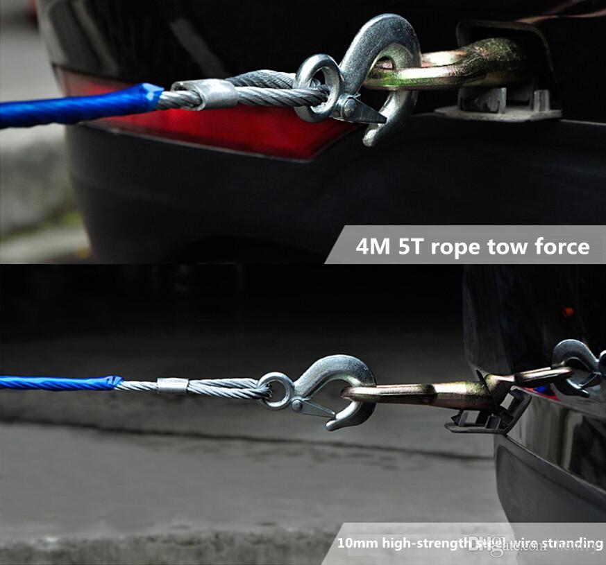 10ピース5T 4Mの鋼線のロープの車の牽引ロープ5トン4Mスチールトウロープストラップオフロード車両の反射緊急