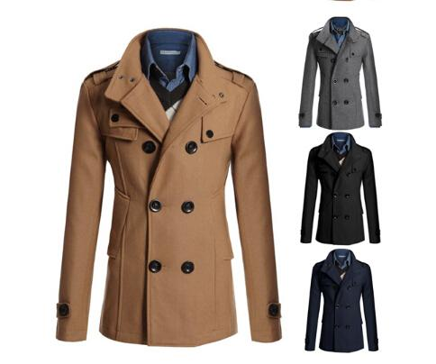 Korean Men Brown Double Breasted Long Coats Men Winter Coat Men ...