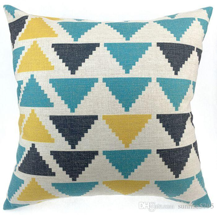 Blue Geometric Cushion Cover Triangles Sofa Chair Couch Throw
