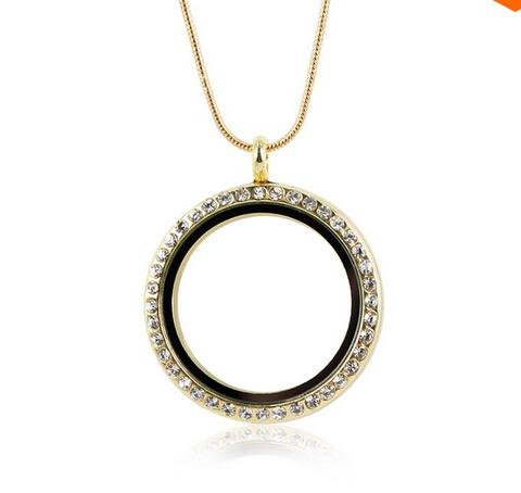 2016 new diy 30mm Silver Round Photo Magnetic Memory Glass Locket With Rhinestone Floating Locket Pendant With Snake Chains