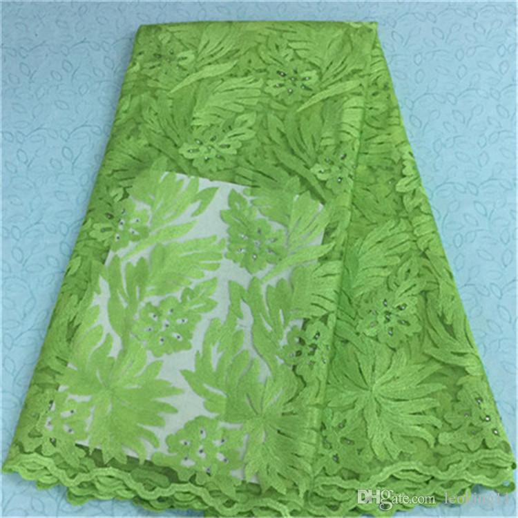99d4cca4af951 Nice looking french net lace fabric with lemon green big jacquard and beads  african lace fabric for party dress BN8-7,5yards/pc