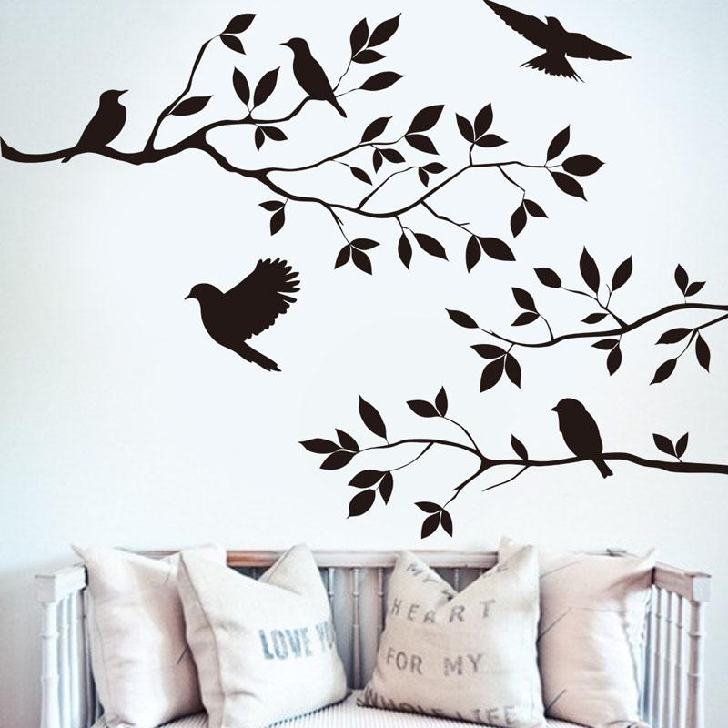 Hot sale birds flying black tree branches wall sticker for Black and white tree wall mural