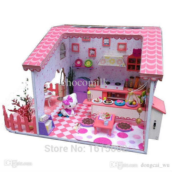 Wholesale Big Sale Diy Wooden Dollhouse Hello Kitty Doll House