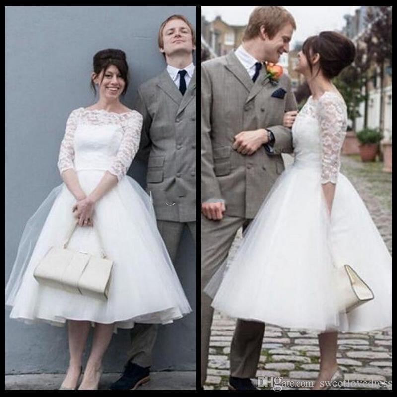 Petite Wedding Gown Designers: Discount 2017 Elegant Bateau Neck Simple Short Wedding