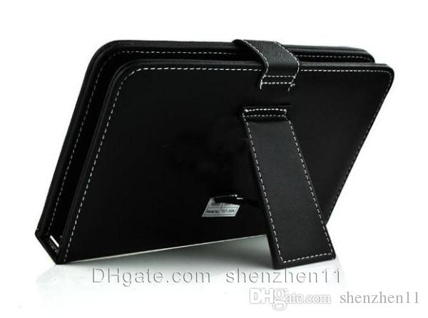 7 inch 8 inch Leather PU Tablet PC Case with Micro Interface USB Port Keyboard fit MID Tablet PC Black Adjustable Cover Free ship PCC015