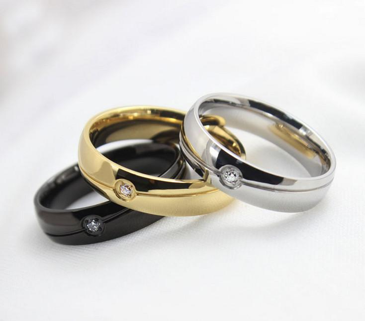 Free Engraving Mens Womens 6MM Titanium Stainless Steel Wedding Ring Crystal CZ Inlaid Domed Band US Size 5-13