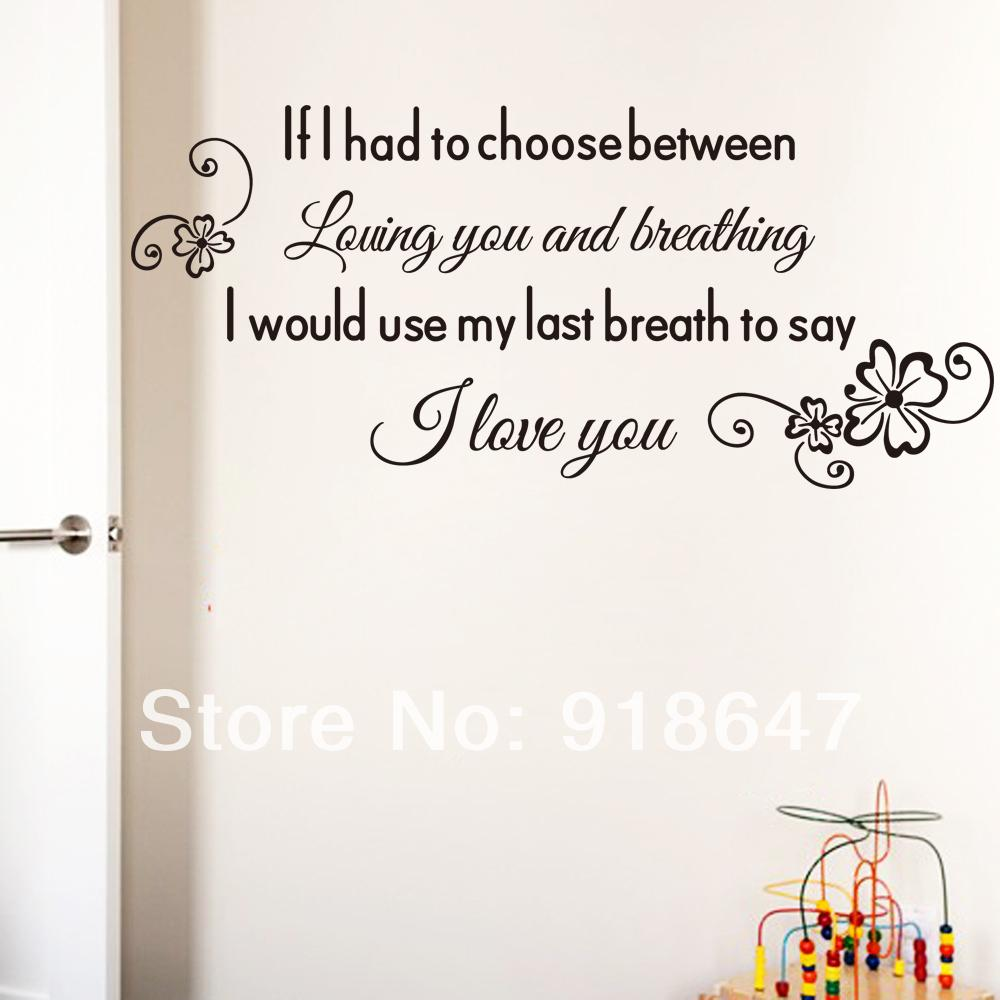 Wall graffiti vinyl lettering - Sia Wholesale New High Quality English Love Quotes Wall Stickers I Love You Vinyl Wall Decals Lettering 10pcs Lot