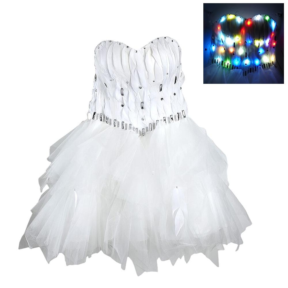Haafee Womens Christmas Party Dress Led Light Up Strapless Ruched ...