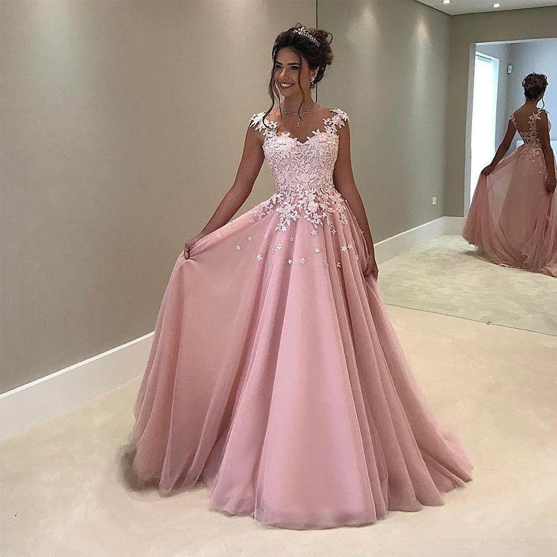 Großhandel Arabisch Blush Pink Abendkleid Lange Formale Abend Party ...