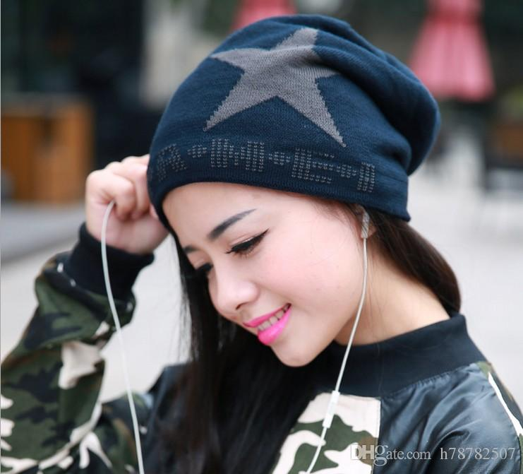 DHL High Quality Woolen Knitted Hat Korean new double with velvet five-pointed star knit hat Winter Warm Hats For women