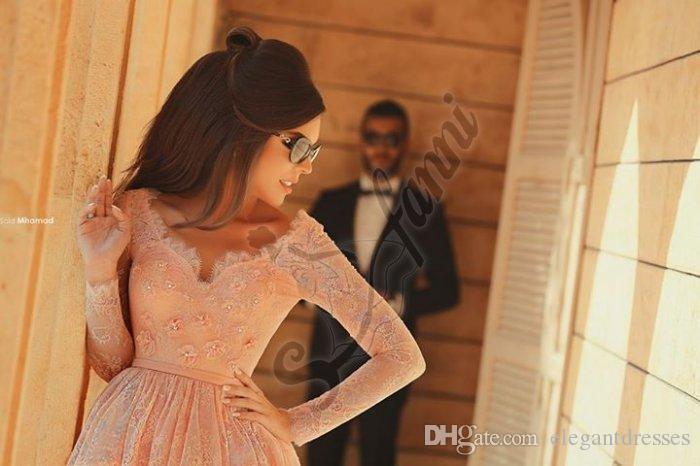 Elegant 2021 Rosa Lång Långärmad Prom Klänning Party Gown Homecoming Klänningar Sexig Beaded Lace Kort Mini A-Line Cocktail Klänningar
