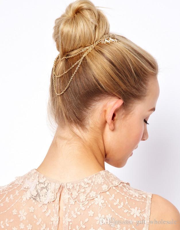 2015 женщин панк Chic листьев волосы расческой головной убор группа цепи кисти бахрома клип 10шт/много