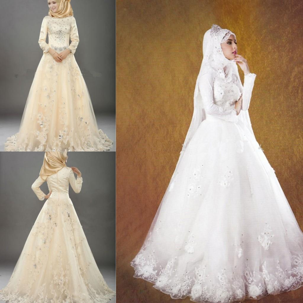 discount real sample long sleeve muslim wedding dresses scoop
