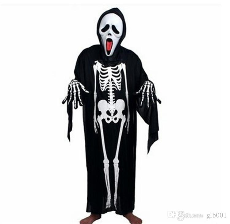 skull skeleton ghost clothes halloween costume masquerade suit with horror mask adult kids cosplay ghost costume skull skeleton ghost g0179 - Clothes Halloween