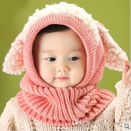 Bébé Hiver Crochet Chaud Chapeaux Chapeau Filles Enfants Mignon À La Main tricoté Crochet En Laine De Fil Casquettes Mignon Chien Forme Oreille Warmer Chapeau Écharpe Chapeaux BH116