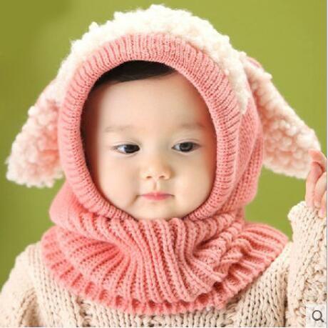 Baby Winter Crochet Warm Hats Cap Girls Kids Cute Handmade knit Crochet Woolen yarn caps cute dog shape ear warmer scarf hats BH116