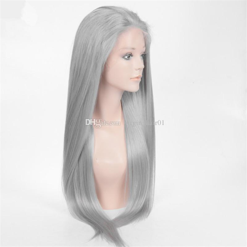 100% cheveux humains perruque gris pleine dentelle perruques soie droite avant de lacet perruque de cheveux humains brésilienne vierge cheveux gris perruque pour les femmes noires