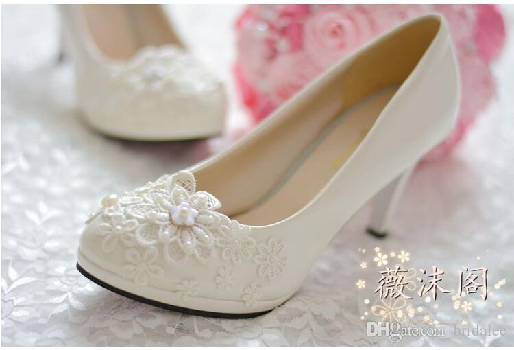 Обувь женщина высокие каблуки свадебные туфли Туфли на платформе обувь белый жемчуг кружева цветок свадебные туфли женщины насосы плоские/4.5 cm / 8 см