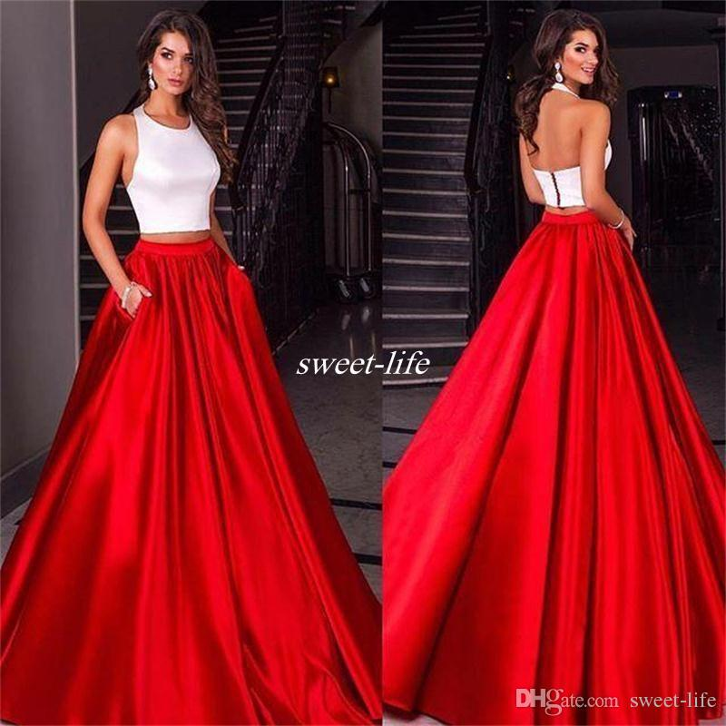 White And Red Prom Dresses Ball Gown Two Piece With Pockets Satin