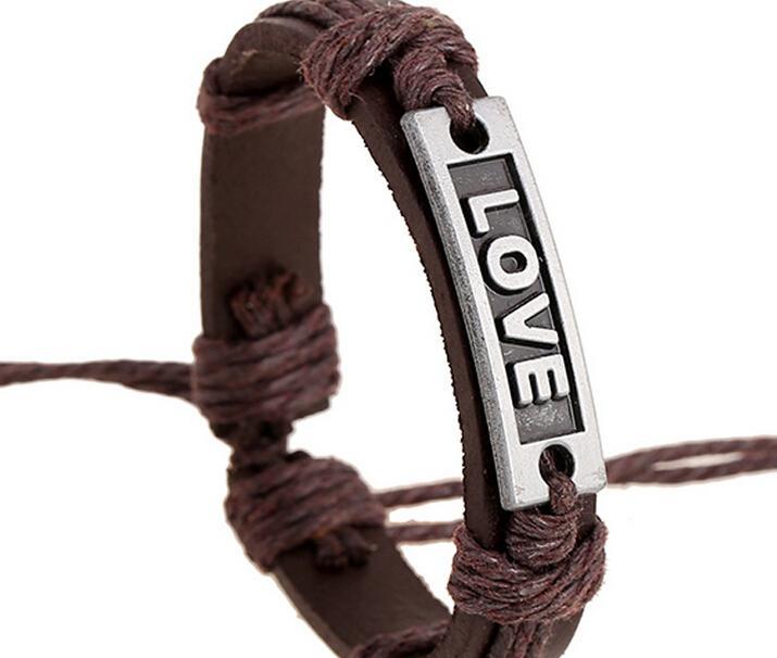 2015 versão mais recente do punk estilo 100% pulseira de couro genuíno handmade liga AMOR corda ajustável pulseira 20 pçs / lote