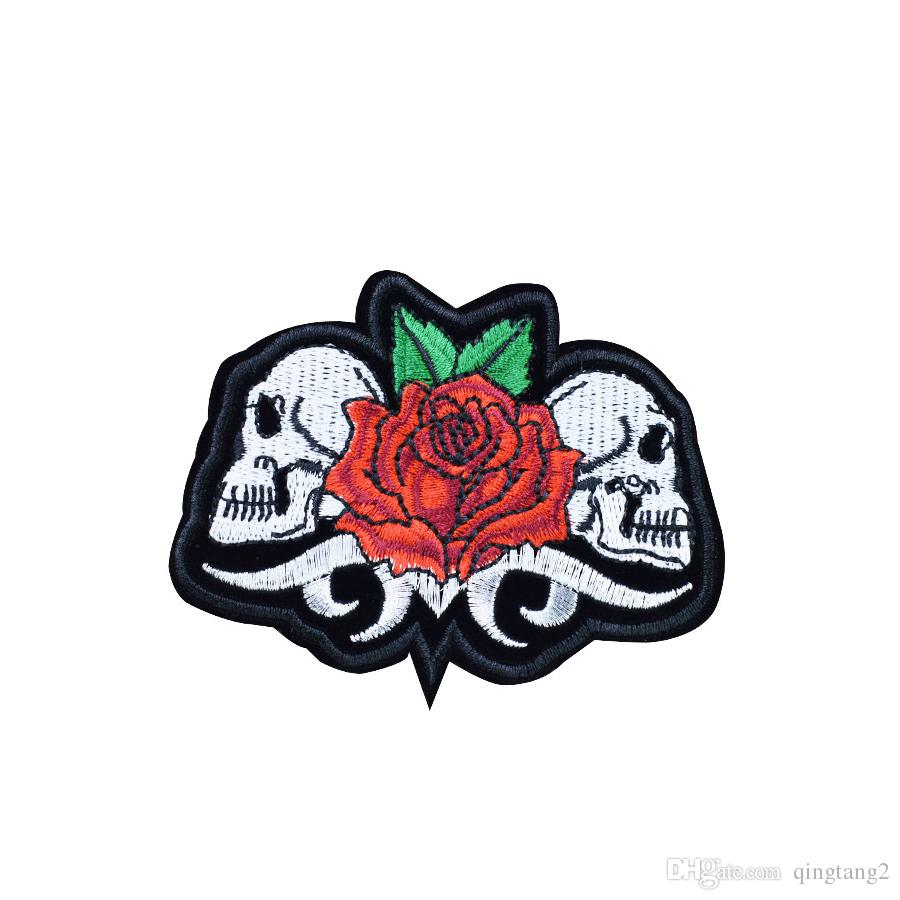 Twins Skull with Rose Embroidery Patches for Clothing Iron on Transfer Applique Patch for Garment Jackets DIY Sew on Embroidery Badge