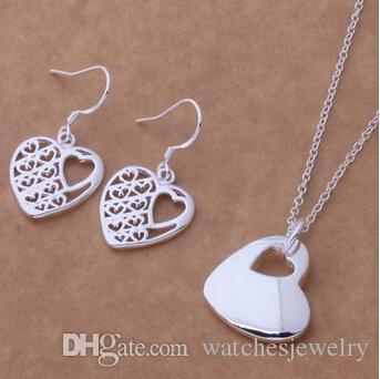 Promoción 925 moda plateó la joyería plateó los pendientes del collar Rose Heart 18inch mujeres venta directa de la fábrica