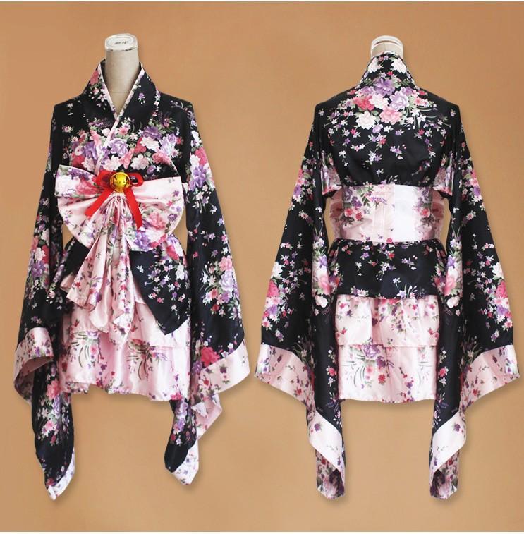 Sakura Kimono Cosplay Anime Maid Costume Japanese Kimono
