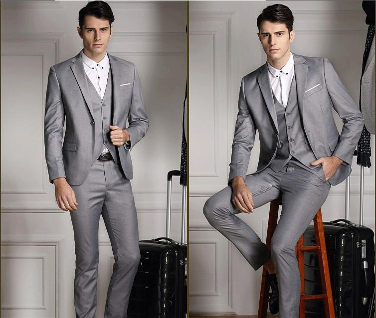 New Arrival Handsome Light Grey Slim Fit Groom Tuxedos Men'S Wedding Dress  Prom ClothingJacket+Pants+Tie+Vest No 578 Mens Suits For Weddings Mens  Wedding ...