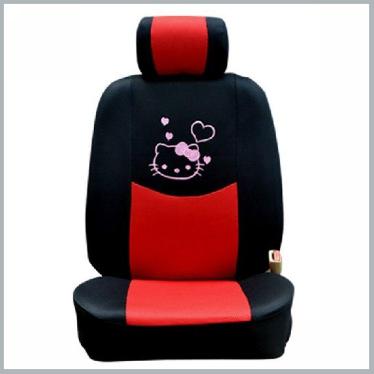 1 x Summer four seasons Hello Kitty KT Cat Auto Seat Cover general  sandwiches cartoon seat cover Cheap Price Black with Red order<$18no trac