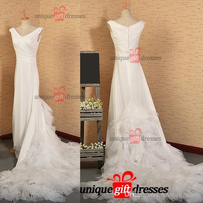 Discount Cheap Unique Wedding Dresses A Line V Neck Chapel Train