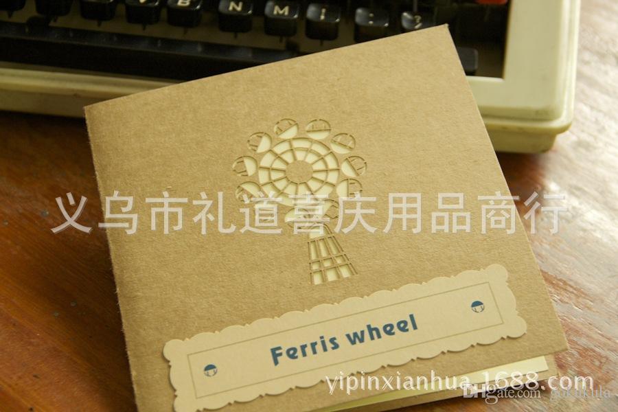 خمر سعيد عيد السماء عجلة اليدوية الإبداعية kirigami اوريغامي 3d المنبثقة بطاقات المعايدة هدية شحن مجاني
