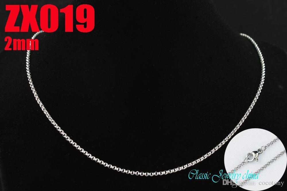 2mm 360-960mm hot aço inoxidável 316L colar redondo cadeia cadeias de moda feminina jóias ZX019