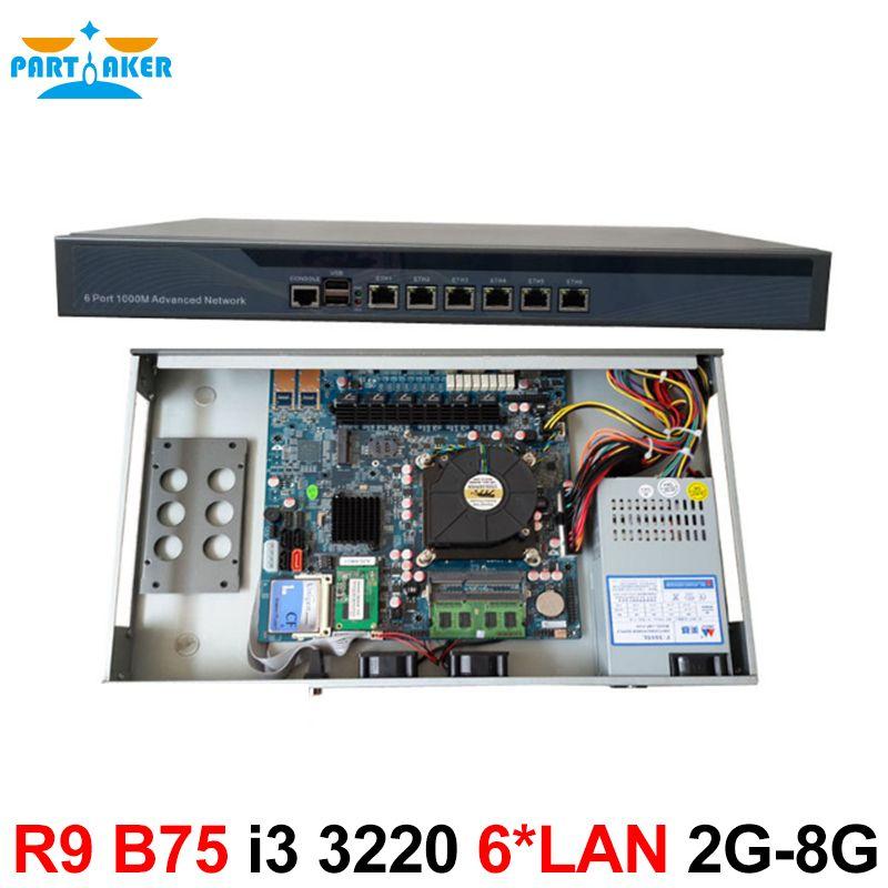 6 Intel PCI-E 1000M 82583V Gigabit LAN B75 Firewall Appliance with i3 3220  Processor Partaker R9