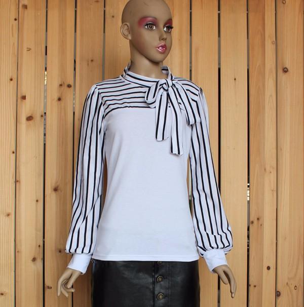 Taglia S-XXL Fashion Stripe T-shirt manica lunga le donne 2016 New Black White Bow Collar Top Tees Shirts